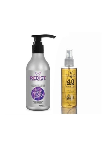Redist Redist Silver Mor Şampuan 500 Ml+Biomega 40 Bitkili Doğal Saç Bakım Yağı 150 Ml Renksiz